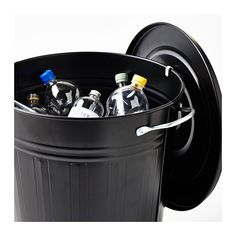 KNODD Bin with lid, white