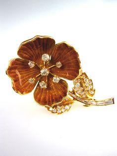 Boucheron Enamel and Diamond Yellow Gold Flower Brooch, by BOUCHERON