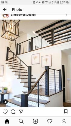 gorgeous modern staircase do something similar on our new back porch Modern Stair Railing, Staircase Railings, Banisters, Staircase Design, Porch Banister, Modern Staircase Railing, Cable Stair Railing, Staircase Diy, Staircase Glass