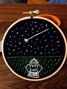 Stargazer Embroidery Hoop Art on Etsy, $30.00