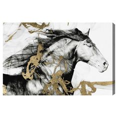 Equally at home in an artful collage or on its own as an eye-catching focal point, this captivating canvas print showcases a horse motif. ...