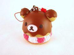 Rilakkuma Cream Puff Sweets Kawaii Squishy Keychain Charm - ERROR. $3.50, via Etsy.