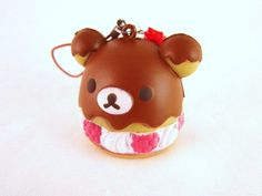 Rilakkuma Cream Puff Sweets Kawaii Squishy Keychain Charm - ERROR. $3.50, via Etsy.