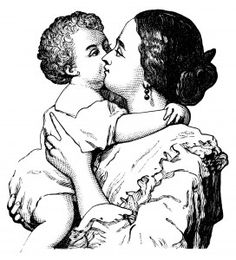 Victorian mother and baby, mom and baby clip art, black and white graphics, printable mother and child illustration, vintage baby clipart