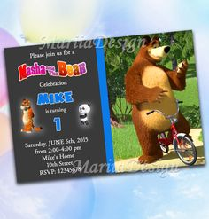 Masha and the Bear - Party Printable Invitation Boy, Chalkboard