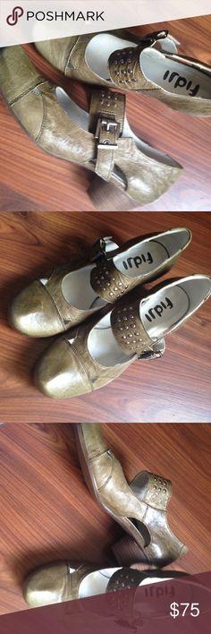 Fidji ilive green studded strap shoe - low heel Lovel made in spain leather shoes by Fidji. Low heel about 1.5 inches, olive green leather, studded strap. Worn once. Size 8, 38 euro. No box. Fidji Shoes