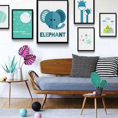 Blue Moon Cartoon Animal Giraffe Elephant Nursery Wall Decor, Baby, Kids Room Decoration