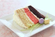 Neapolitan cake with cream cheese icing