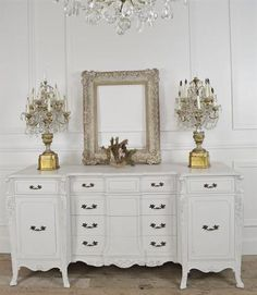 Vintage Carved Dining Room Server in White Finish from Full Bloom Cottage