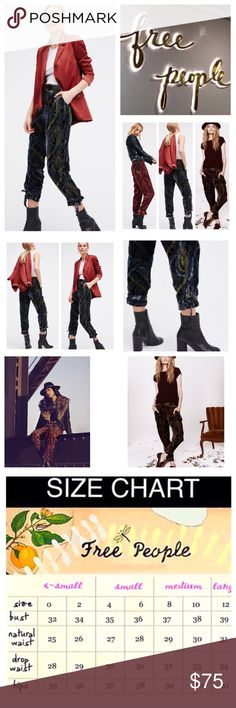 """🆕Free People Burnout Velvet Printed Pants.  NWOT. 🆕Free People Black Printed Burnout Velvet Pants, 82% viscose, 18% polyester, machine washable, 30"""" elastic waist which stretches up to 36"""", 12"""" front rise, 15"""" back rise, 27"""" inseam, 14"""" leg opening all around, in a burnout velvet multi-colored design these easy ankle grazing pants have elastic cuffs with adjustable ties, hip pockets, and an elastic band in back of waist for an easy fit, measurements are approx.  New without tag, never…"""