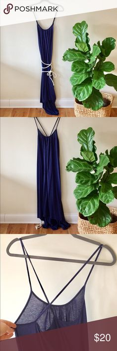 TEE by Big Star maxi dress size L Adorable navy stripe maxi dress with rope belt included. Small signs of wear. Loop on opposite side not there (one shown in photo). Dress is a bit longer in back. Big Star Dresses Maxi