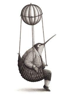 """David Daniel Álvarez Hernández illustration for """"Bandada""""."""