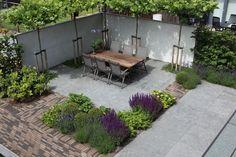 Strakke achtertuin met kleurrijke beplanting  www.biesot.nl