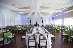 Lime Green and Navy Blue Wedding Reception with Draping and Wood Chiavari Chairs   St. Pete Beach Rec Community Center Wedding Venue