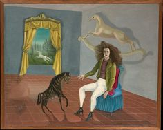 Leonora Carrington, Self-Portrait, c. 1938. Carrington was part of a Surrealist movement across Europe and has picked to use elements of this in her self-portrait. She has put herself in a large room, with objects and animals which seem at odds to each other. In her own personal mythology, the horse symbolises freedom and rebirth, while the hyena her sensuality. Again, she is not show holding any attributes of her role as an artist, becoming in some ways a sitter.