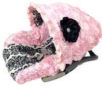 Fancy Black Damask Baby Pink 3D Roses Infant Car Seat Cover