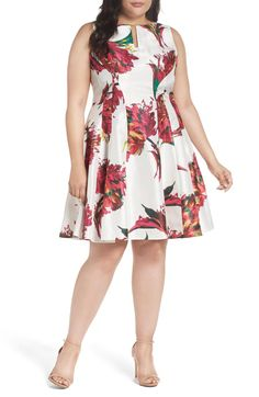 Keyhole Detail Floral Shantung Fit & Flare Dress (Plus Size) by Gabby Skye