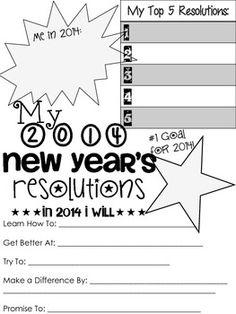 2014 New Years Resolution Sheet