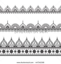 Border line lace mehndi elements in Indian style for card and tattoo isolated on white background. Black and white illustration