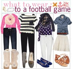 """what to wear to a FOOTBALL game ?"" by thetipsisters ❤ liked on Polyvore"