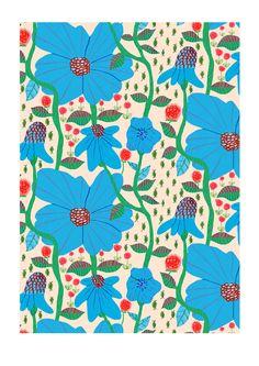 blue flowers by monika forsberg aka walkyland Textile Patterns, Textile Prints, Print Patterns, Textiles, Floral Patterns, Surface Pattern Design, Pattern Art, Motif Floral, Floral Prints