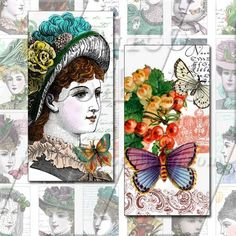 NEW Ladies and Butterflies   Digital Collage by calicocollage, $3.75