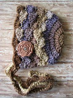 03 month Crochet Bonnet by LoopyChicks on Etsy a94e7044f64