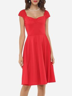 Plain Captivating V Neck Skater-dress This style is so simple, but still super cute