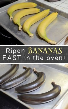 Just in case you're making banana bread or any other recipe that requires ripe bananas, here is a trick that will have them ripe in less than an hour. The black looks awfully scary, but if you take a peek inside of the peel, you'll see that they are just right for baking.