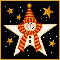 CHRISTMAS SNOWMAN STAR CLIP ART