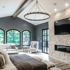 Master Bedroom Ideas With Hardwood Floors And Stone Fireplace bedroom fireplace Top 60 Best Master Bedroom Ideas - Luxury Home Interior Designs Home Interior Design, Home Bedroom, House Design, Bedroom Fireplace, Master Bedroom Interior, Master Bedrooms Decor, Luxury Homes Interior, Dream Master Bedroom, Luxury Bedroom Master