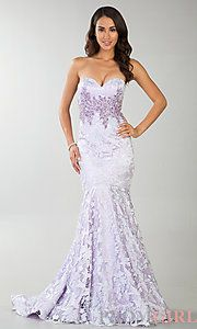 Buy Floor Length Strapless Sweetheart Lace Mermaid Dress at PromGirl