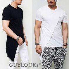Avant-Garde desequilibrio de corte diagonal Capa para hombre diseñadores redondo camisetas camiseta Guylook