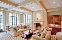 Remarkable Living Rooom With Coffered Ceiling And Accent Lamps Furnished With Fabric Sofas And Indoor Fireplace House Design, Coffered Ceiling, Modern Design Pictures, Interior Design, Luxury Homes, Cream Living Rooms, Interior, Indoor Fireplace, Traditional Living Room