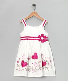 Take a look at this White & Pink Embroidered Heart Dress - Toddler & Girls by Littoe Potatoes on #zulily today!