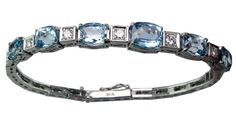 18kw Art Deco Aqua & Diamond Bracelet - Mardon Jewelers