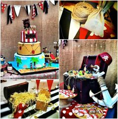 Pirate themed birthday party with So Many Awesome Ideas via Kara's Party Ideas Kara Allen KarasPartyIdeas.com #pirateparty #pirateloot #cake...