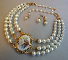 Vintage Cameo Necklace and matching Pearl Earrings 3 by EyeCandyAntiques