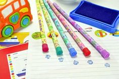 Stamps and pencils, what a lovely combination! And that is exactly what you get with these stamp pencils! What is amazing about this product is each one serves as a fully functioning pencil, but the top serves as both an eraser and a stamp! There are five stamp pencils to choose from, including: green, yellow, pink, blue, and purple. - Note: Stamp pencils do not come with ink for the stamps.