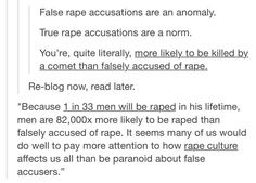 1 in 30 men are rapists, and according to this 1 in 33 men are raped, so on average a male rapist will rape at least 1 man along with all his female victims Intersectional Feminism, Patriarchy, Faith In Humanity, My Tumblr, No Me Importa, Look At You, Social Justice, In This World, Equality