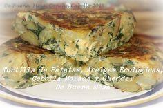 Tortilla de Patatas, Acelgas Ecológicas, Cebolla Morada y Cheddar, De Buena Mesa http://denuestracasa.blogspot.com.es/2014/12/tortilla-de-patatas-acelgas-ecologicas.html