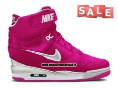 Nike Wmns Air Revolution Sky Hi (Nike iD) - Chaussure Montante Nike Pas Cher Pour Femme Rose framboise/Argent métallique/Blanc 599410-901