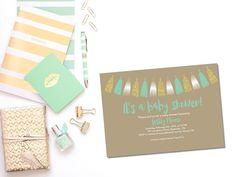 Printable baby shower invitation/boy baby shower invitation/girl baby shower invitation/ tassel garland baby shower invite/mint baby shower by glassslipperdesigns on Etsy