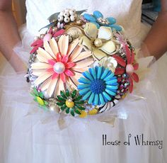House of Whimsy: Addicted to Vintage Enamel Floral Pins into bridal bouquet