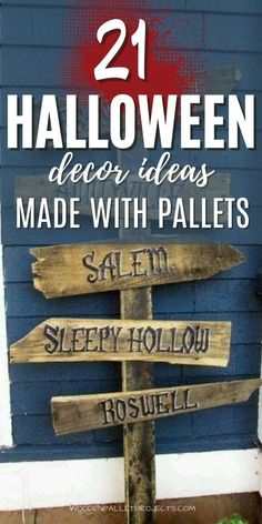 Looking for diy pallet Halloween Ideas? Then check this article to get some inspiration. Awesome pallet and reclaimed wood Halloween projects including halloween graveyard fence and tombs, scary halloween signs, halloween porch decorations with pumpkins, halloween coffins and spooky zombie pits. Click to find amazing diy halloween outdoor and yard wood decorations made from pallets. Halloween Pallet Signs, Pallet Halloween Decorations, Outdoor Halloween, Halloween Projects, Wood Decorations, Halloween Ideas, Decor Ideas, Diy Ideas, Halloween Coffin