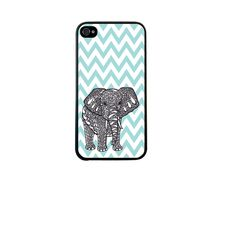 CRHK Tiffany Blue Chevron Elephant Design Clear Back Skin Snap on Case Cover for 2013 Apple iPhone + Screen Protector + CRHK stylus