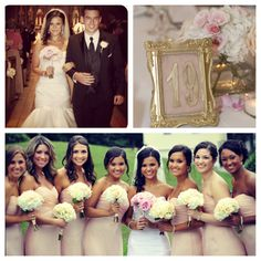 Blush wedding gold number frame. >> love the color of the bridesmaid dresses!