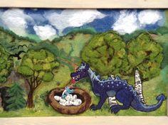 Suurikokoinen huovutettu lohikäärmetaulu 112 X 73,5 cm Needle felted dragon