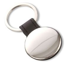 Llavero redondo metálico negro, enganche polipiel. www.tusregalosdeempresa.com
