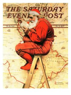 Santa at the Map, Saturday Evening Post Cover, December 16,1939, Norman Rockwell